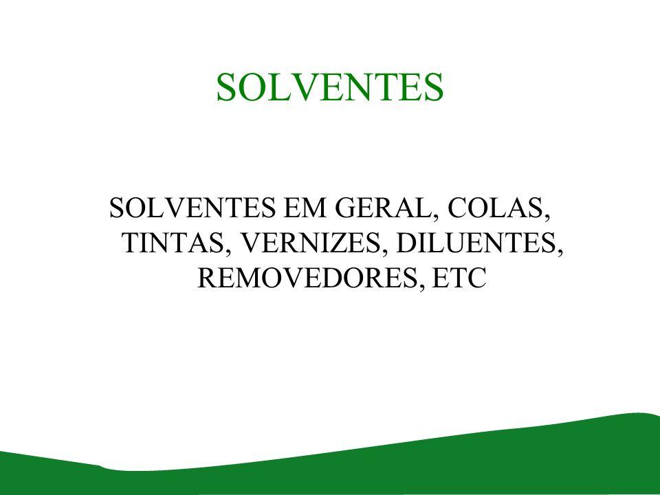 SOLVENTES SOLVENTES EM GERAL, COLAS, TINTAS, VERNIZES, DILUENTES, REMOVEDORES, ETC