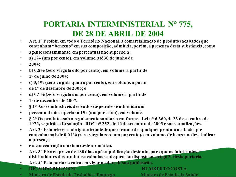 PORTARIA INTERMINISTERIAL N° 775, DE 28 DE ABRIL DE 2004