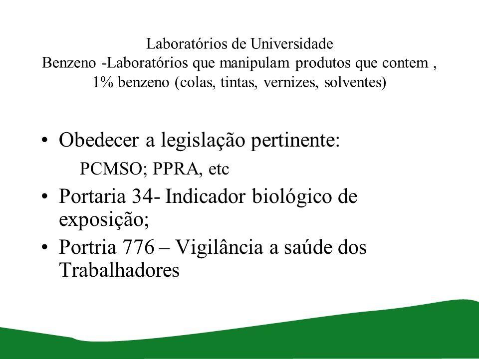 Obedecer a legislação pertinente: PCMSO; PPRA, etc