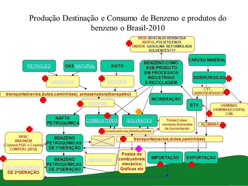 Produção Destinação e Consumo de Benzeno e produtos do benzeno o Brasil-2010