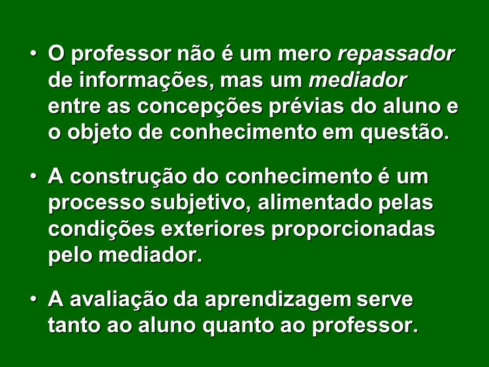 O professor não é um mero repassador de informações, mas um mediador entre as concepções prévias do aluno e o objeto de conhecimento em questão.