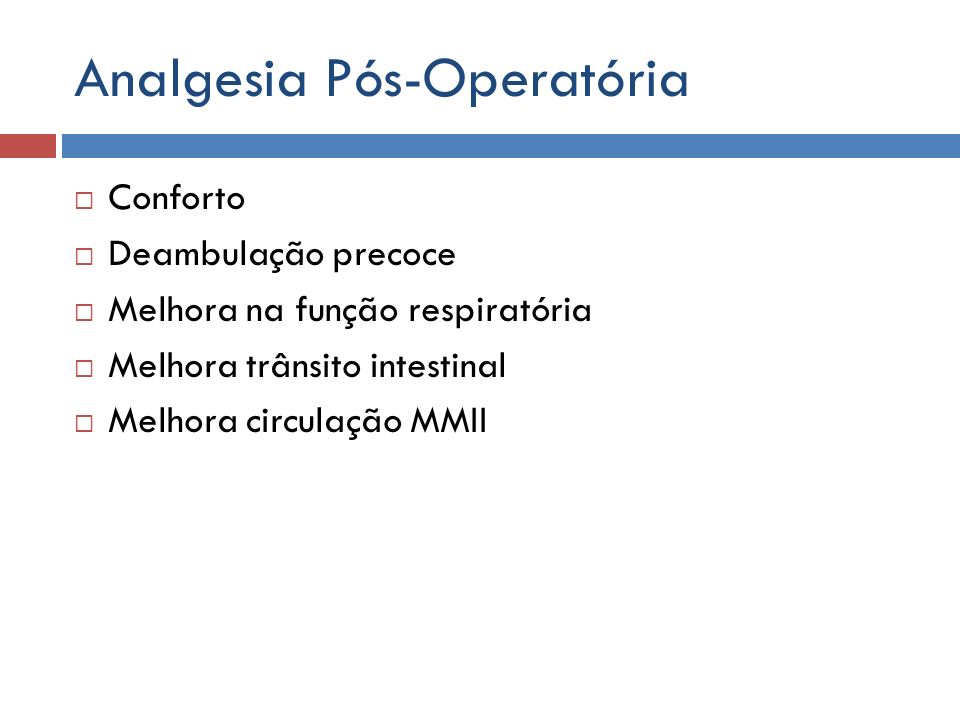 Analgesia Pós-Operatória