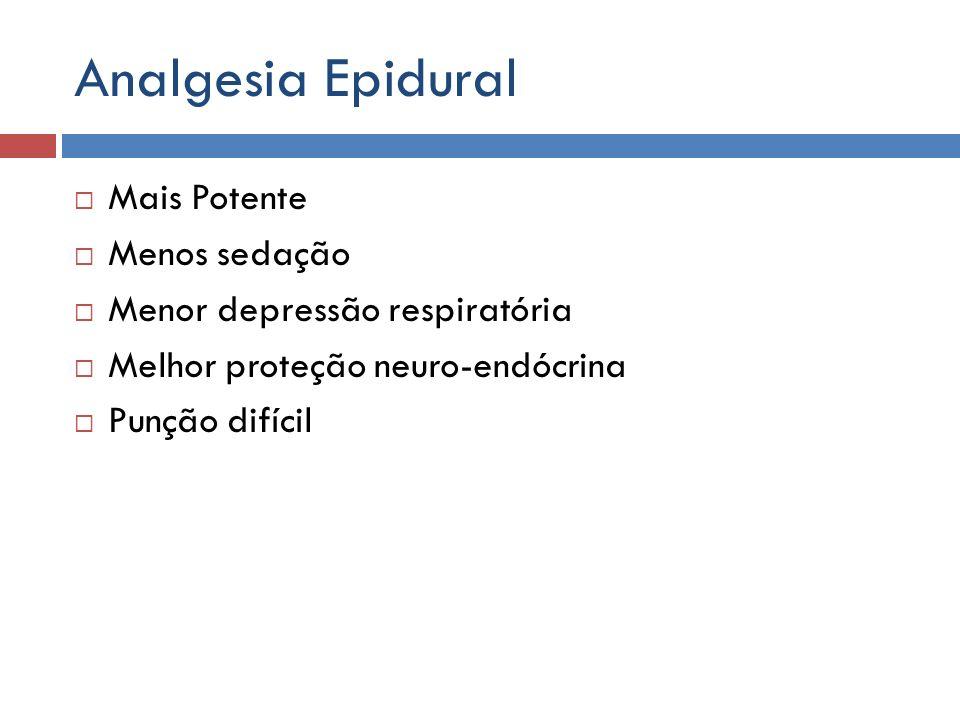 Analgesia Epidural Mais Potente Menos sedação