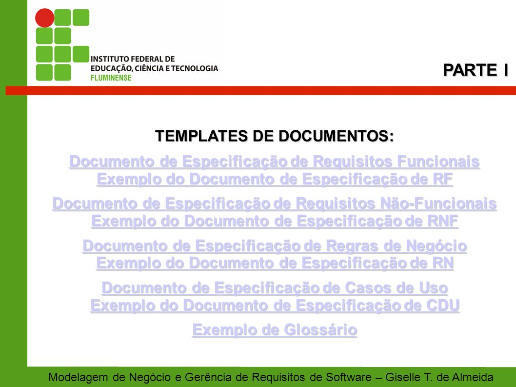 PARTE I TEMPLATES DE DOCUMENTOS: