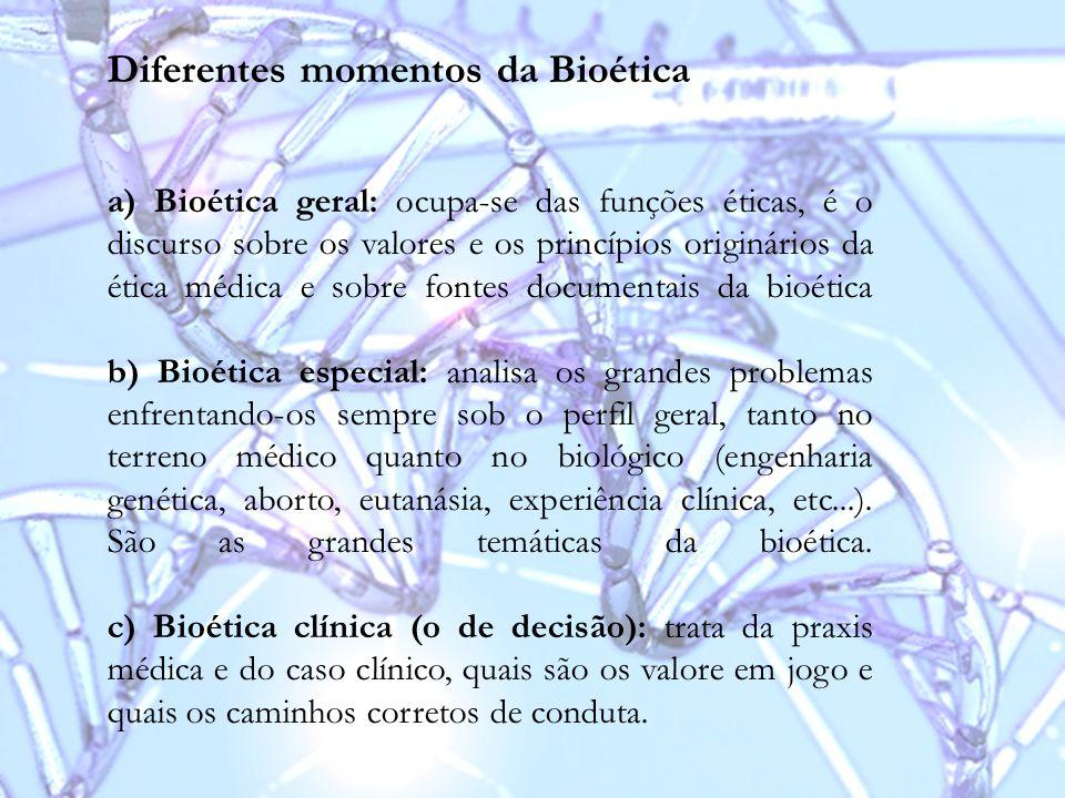 Diferentes momentos da Bioética
