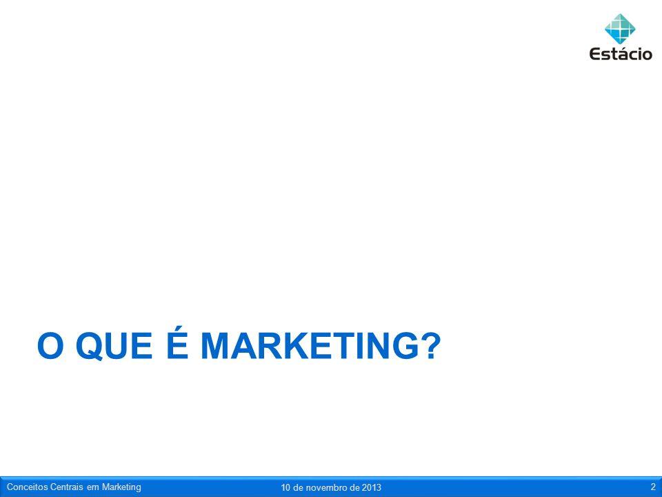 O que é marketing Conceitos Centrais em Marketing 23 de março de 2017