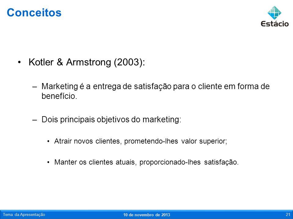 Conceitos Kotler & Armstrong (2003):