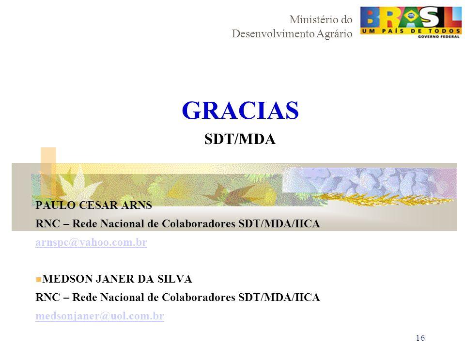 GRACIAS SDT/MDA PAULO CESAR ARNS