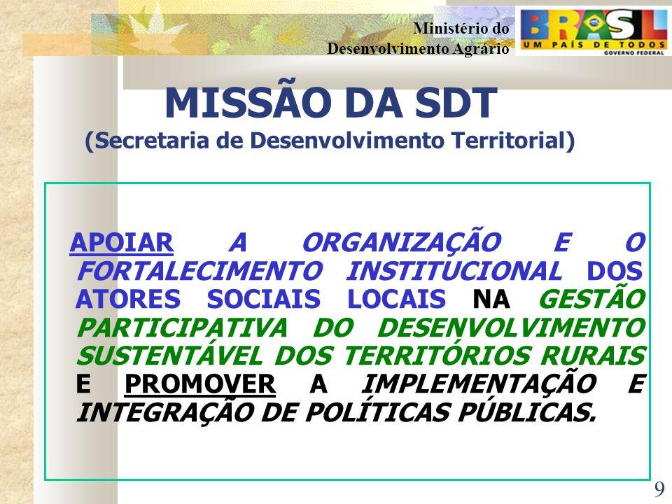 MISSÃO DA SDT (Secretaria de Desenvolvimento Territorial)