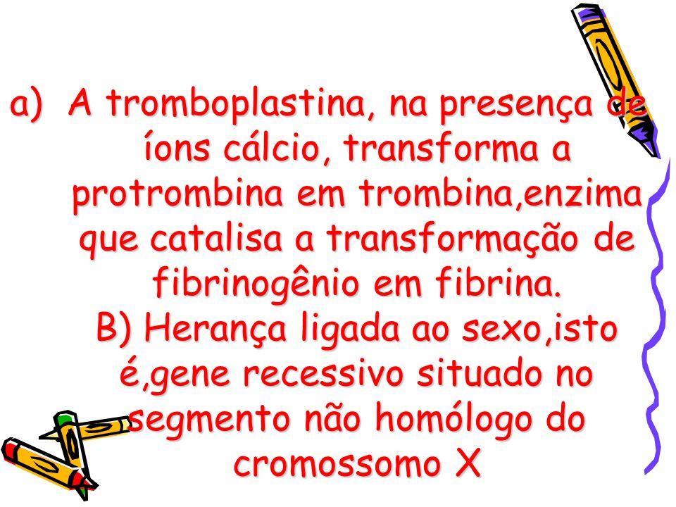 A tromboplastina, na presença de íons cálcio, transforma a protrombina em trombina,enzima que catalisa a transformação de fibrinogênio em fibrina.