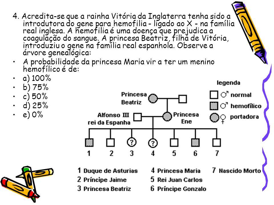4. Acredita-se que a rainha Vitória da Inglaterra tenha sido a introdutora do gene para hemofilia - ligado ao X - na família real inglesa. A hemofilia é uma doença que prejudica a coagulação do sangue. A princesa Beatriz, filha de Vitória, introduziu o gene na família real espanhola. Observe a árvore genealógica: