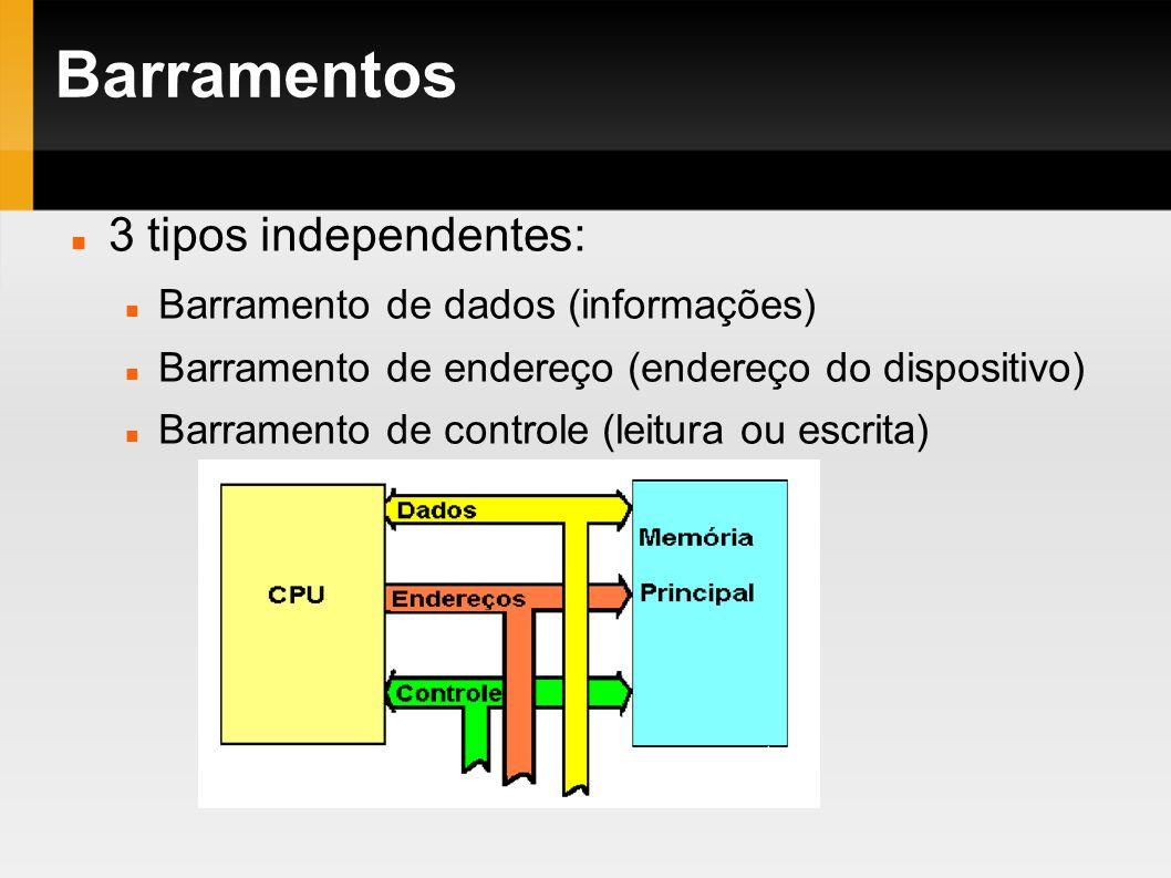 Barramentos 3 tipos independentes: Barramento de dados (informações)
