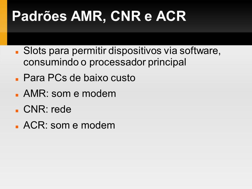 Padrões AMR, CNR e ACR Slots para permitir dispositivos via software, consumindo o processador principal.