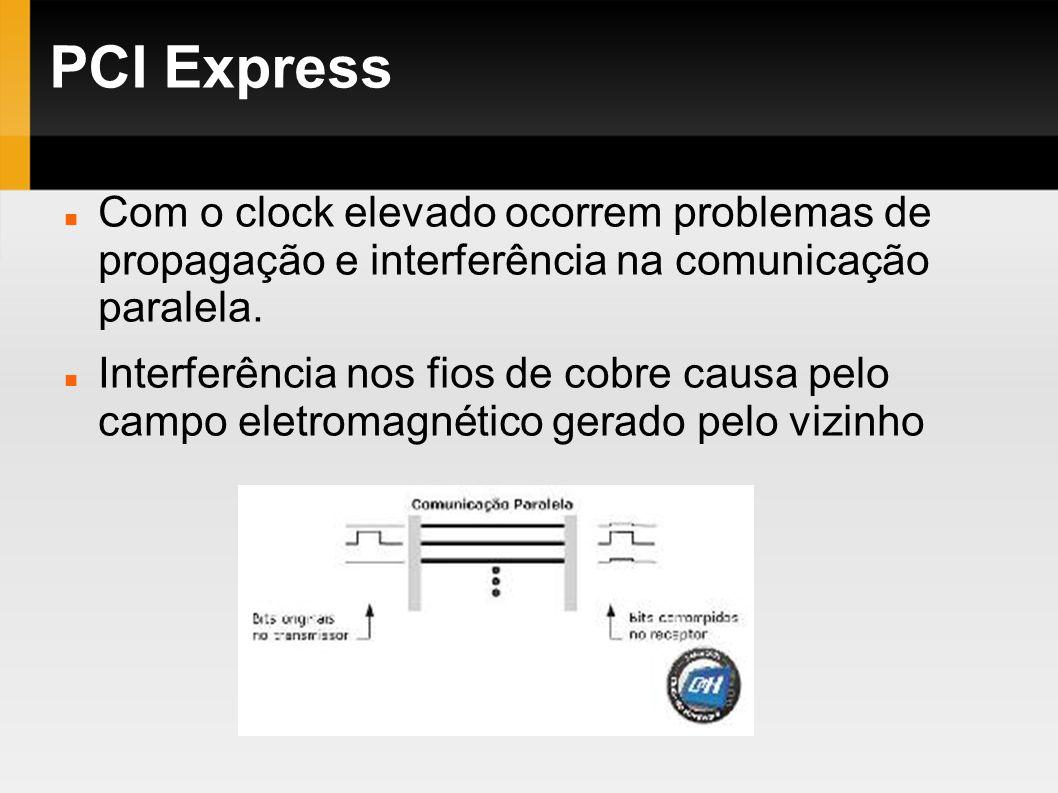 PCI Express Com o clock elevado ocorrem problemas de propagação e interferência na comunicação paralela.