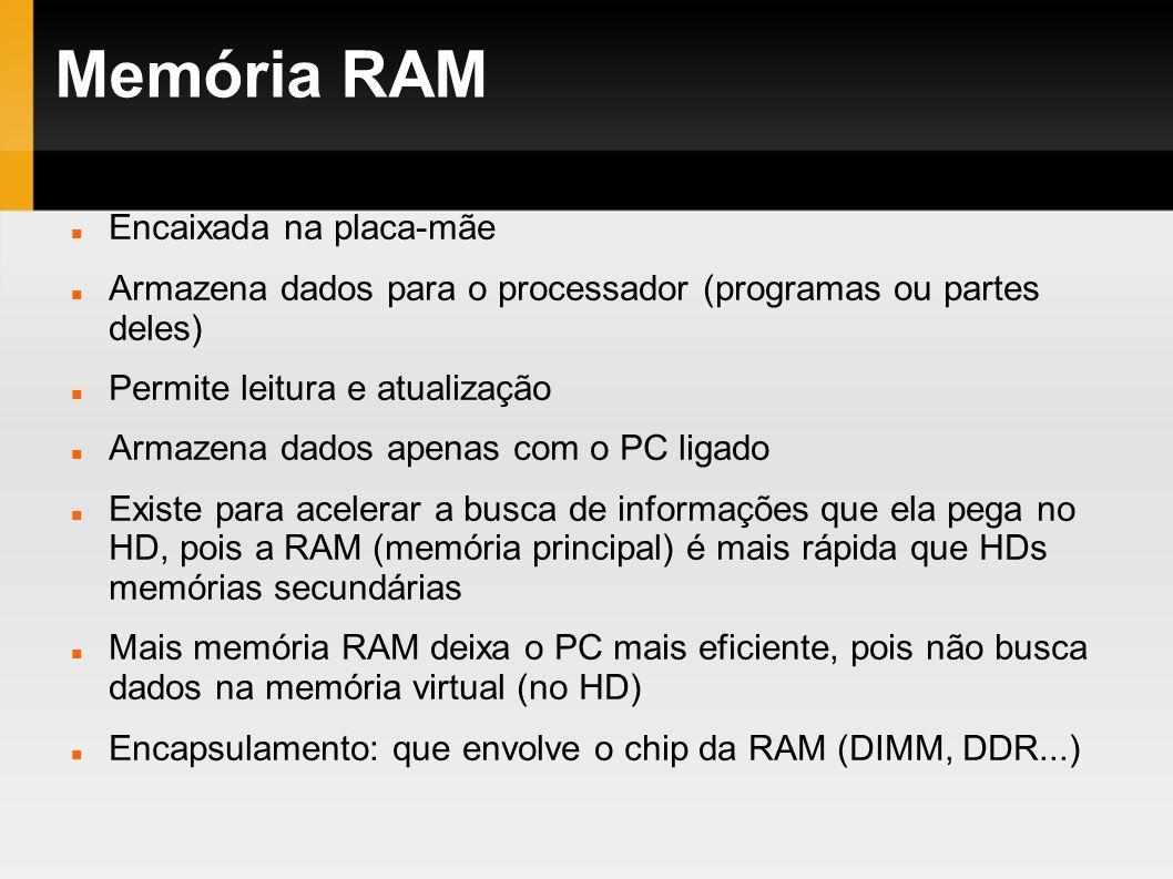Memória RAM Encaixada na placa-mãe