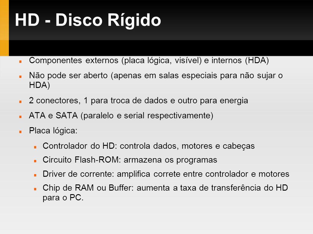 HD - Disco RígidoComponentes externos (placa lógica, visível) e internos (HDA) Não pode ser aberto (apenas em salas especiais para não sujar o HDA)