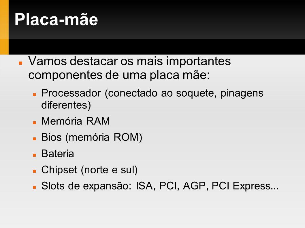 Placa-mãeVamos destacar os mais importantes componentes de uma placa mãe: Processador (conectado ao soquete, pinagens diferentes)