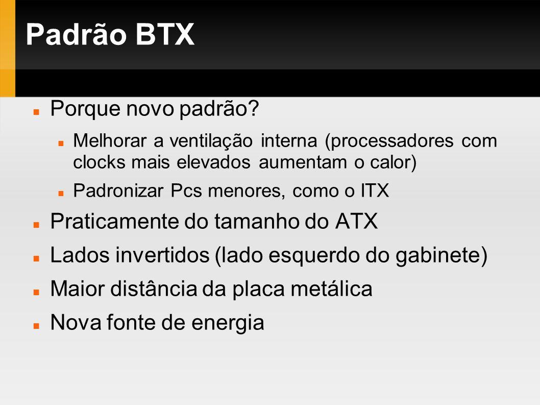 Padrão BTX Porque novo padrão Praticamente do tamanho do ATX