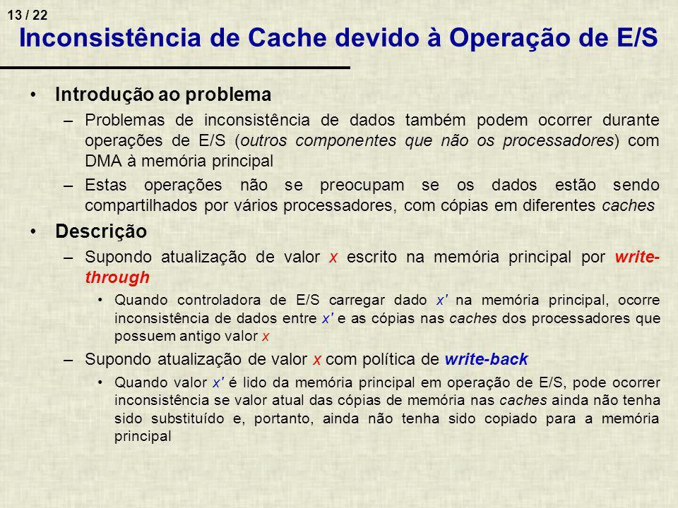 Inconsistência de Cache devido à Operação de E/S