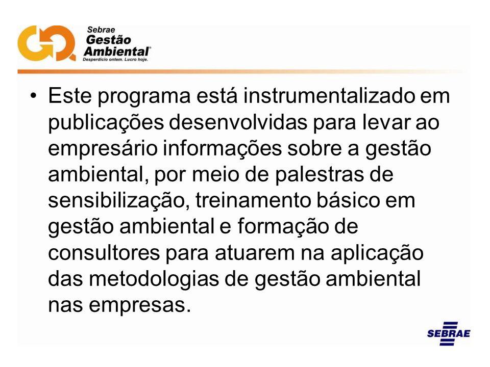 Este programa está instrumentalizado em publicações desenvolvidas para levar ao empresário informações sobre a gestão ambiental, por meio de palestras de sensibilização, treinamento básico em gestão ambiental e formação de consultores para atuarem na aplicação das metodologias de gestão ambiental nas empresas.