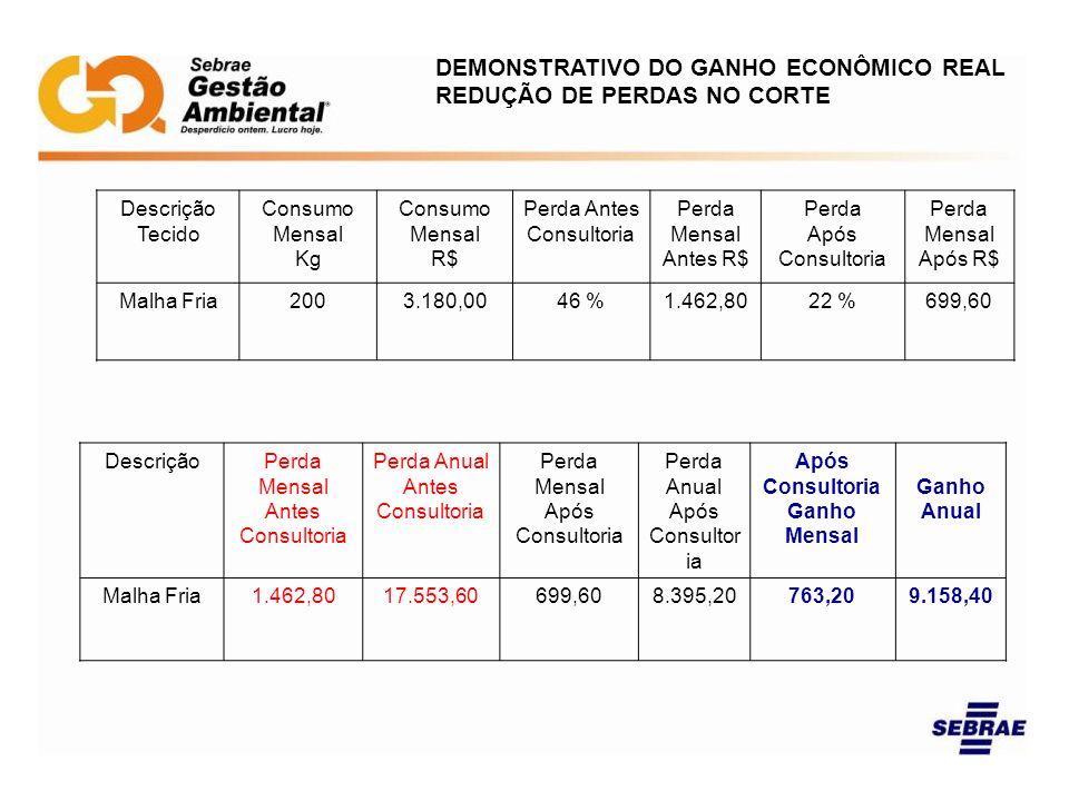 DEMONSTRATIVO DO GANHO ECONÔMICO REAL REDUÇÃO DE PERDAS NO CORTE