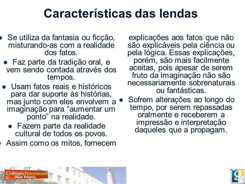 Características das lendas