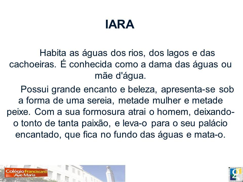 IARA Habita as águas dos rios, dos lagos e das cachoeiras. É conhecida como a dama das águas ou mãe d água.
