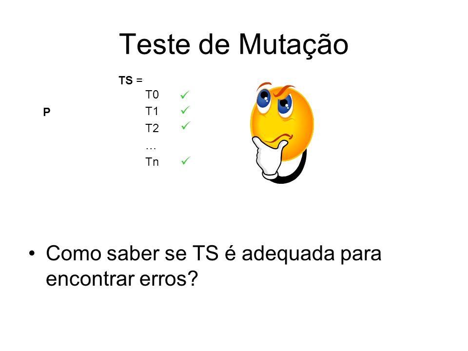 Teste de Mutação Como saber se TS é adequada para encontrar erros 