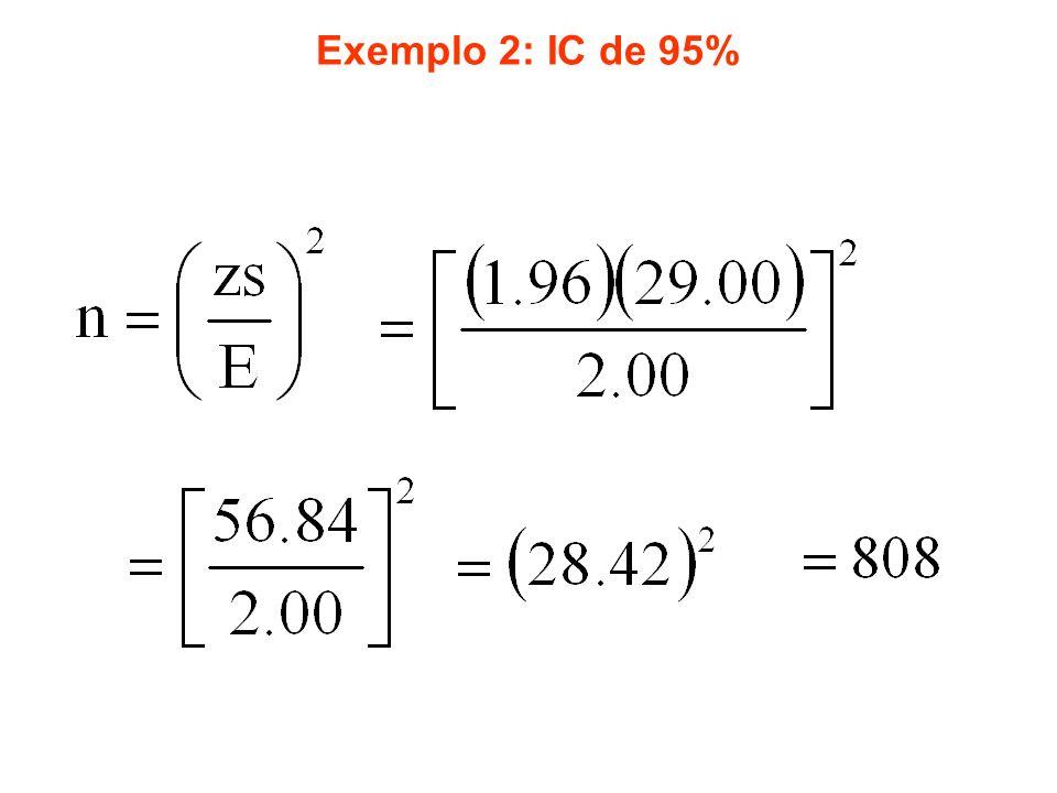 Exemplo 2: IC de 95%