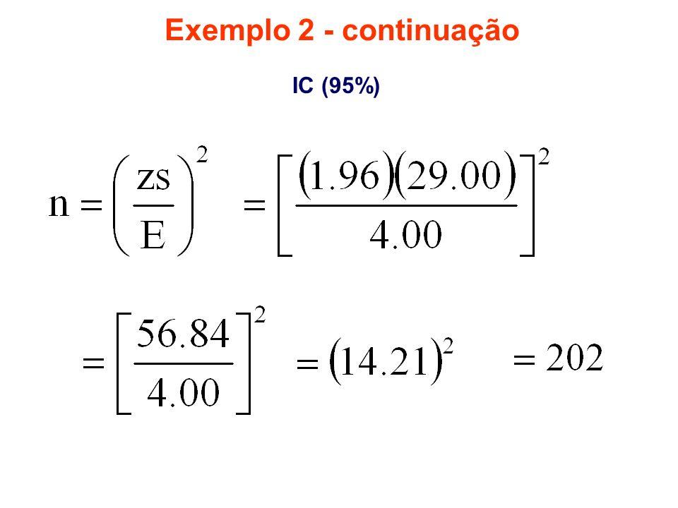 Exemplo 2 - continuação IC (95%)