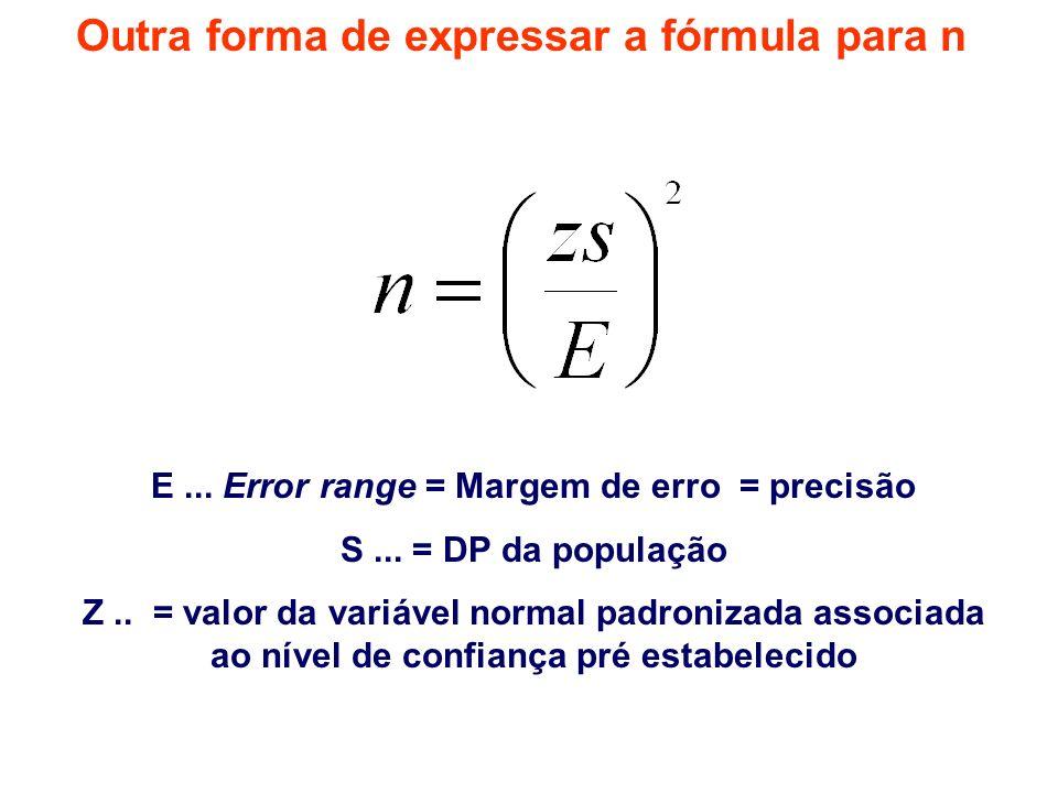 Outra forma de expressar a fórmula para n