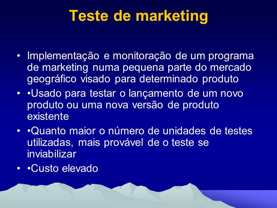 Teste de marketingImplementação e monitoração de um programa de marketing numa pequena parte do mercado geográfico visado para determinado produto.