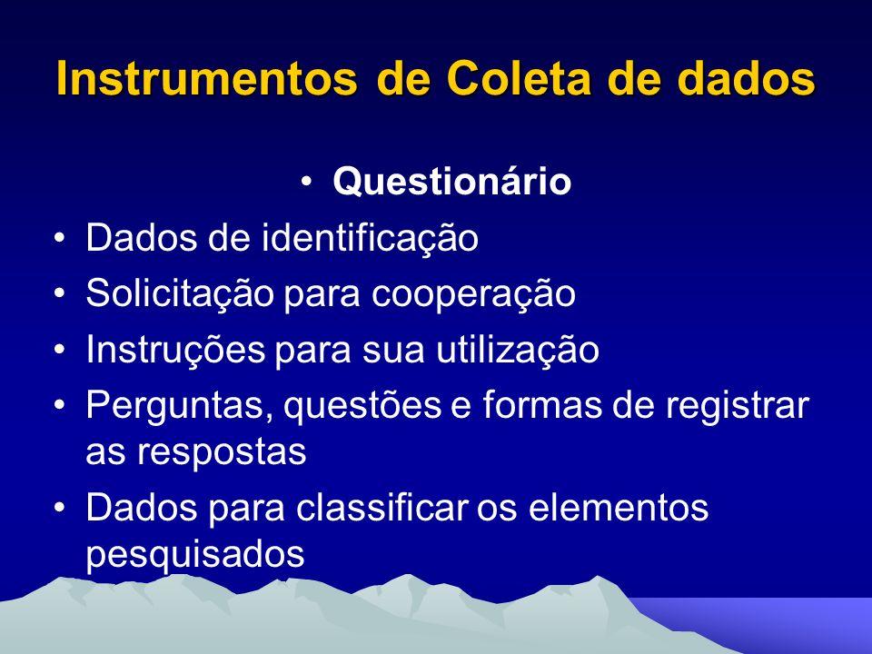 Instrumentos de Coleta de dados