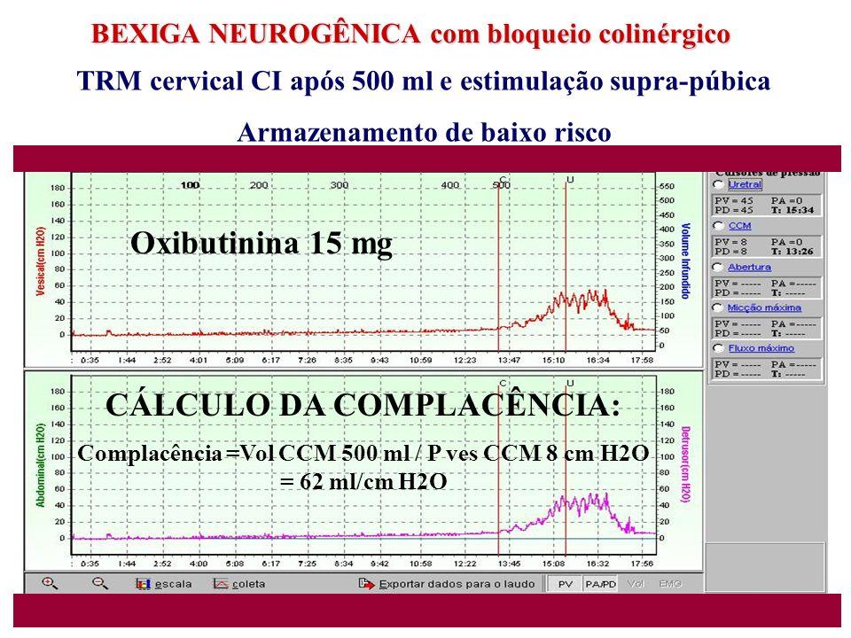 Oxibutinina 15 mg CÁLCULO DA COMPLACÊNCIA: