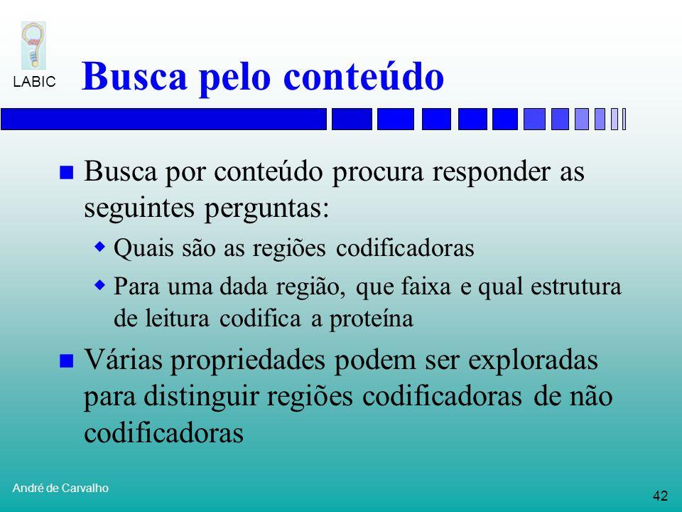 Busca pelo conteúdo Busca por conteúdo procura responder as seguintes perguntas: Quais são as regiões codificadoras.