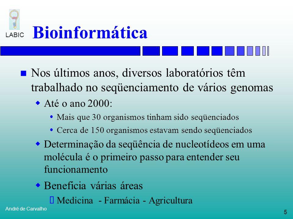 Bioinformática Nos últimos anos, diversos laboratórios têm trabalhado no seqüenciamento de vários genomas.