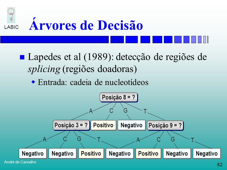 Árvores de Decisão Lapedes et al (1989): detecção de regiões de splicing (regiões doadoras) Entrada: cadeia de nucleotídeos.