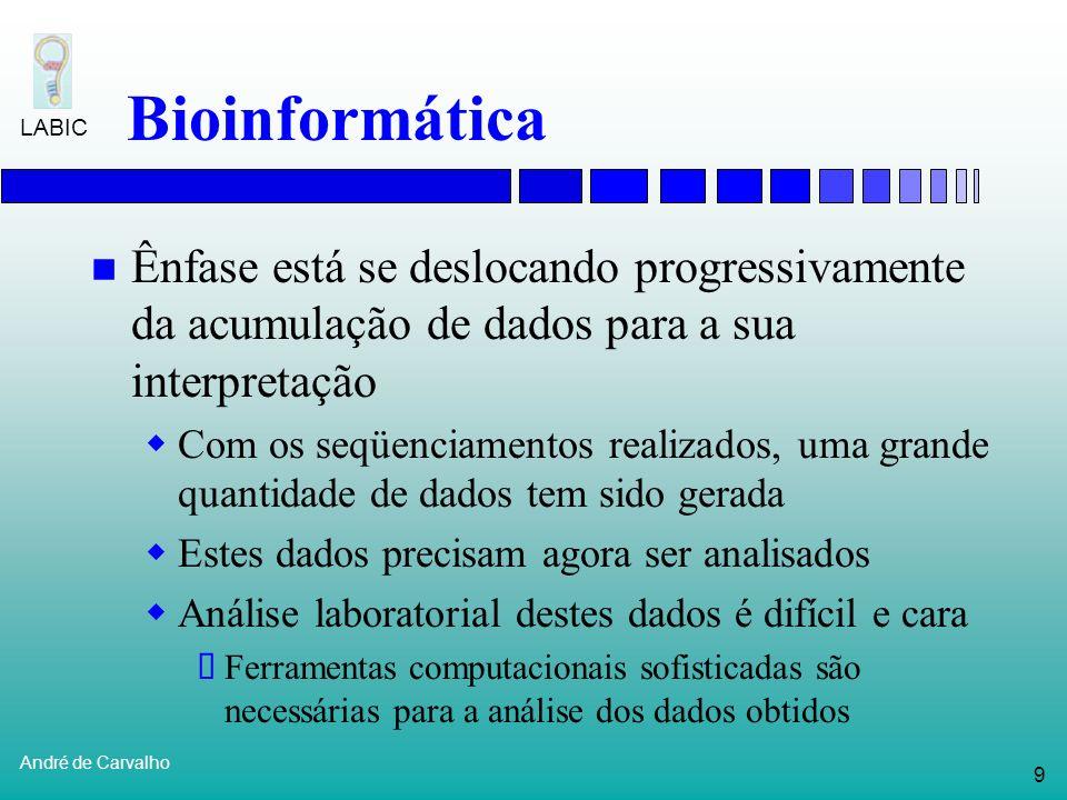 Bioinformática Ênfase está se deslocando progressivamente da acumulação de dados para a sua interpretação.