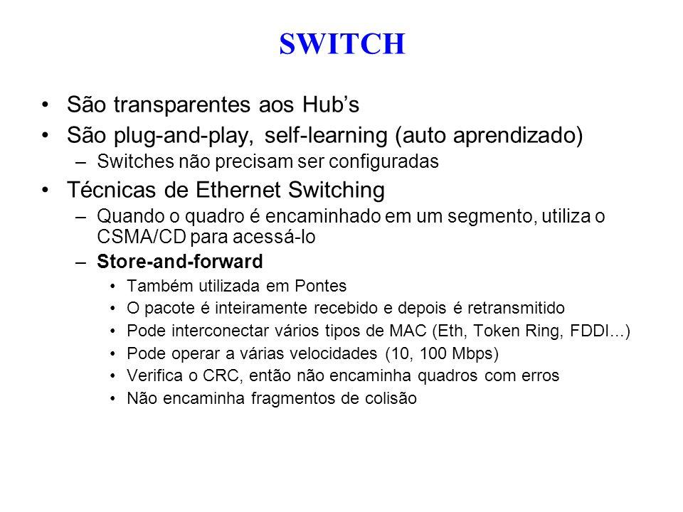 SWITCH São transparentes aos Hub's