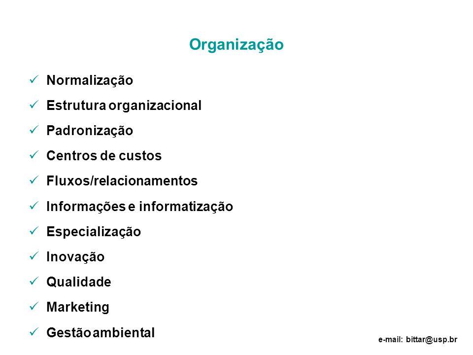 Organização Normalização Estrutura organizacional Padronização