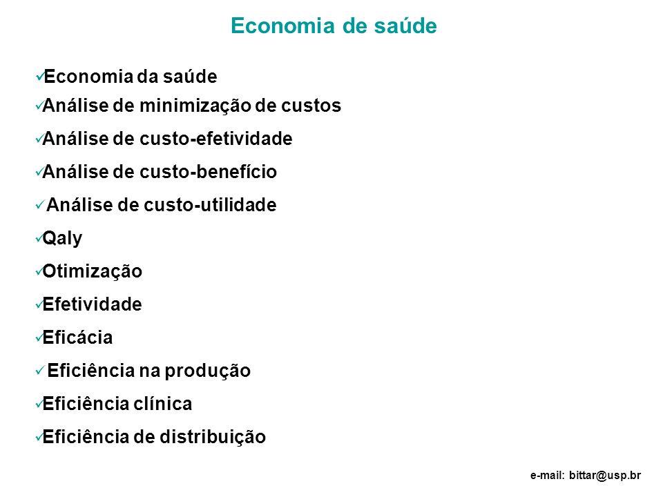 Economia de saúde Economia da saúde Análise de minimização de custos