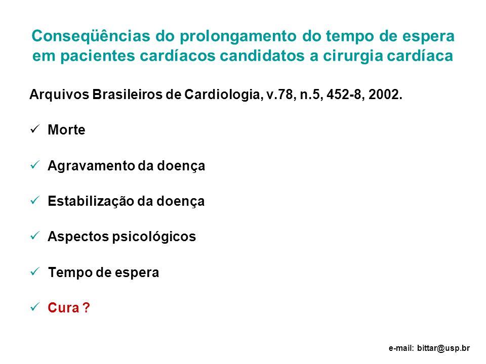 Conseqüências do prolongamento do tempo de espera em pacientes cardíacos candidatos a cirurgia cardíaca