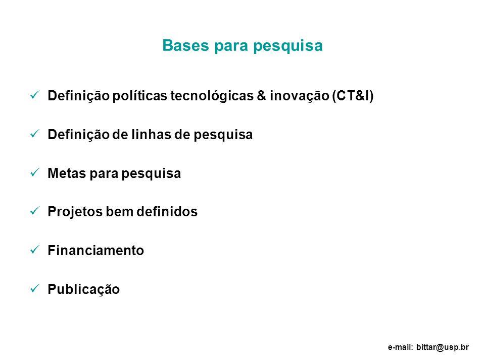 Bases para pesquisa Definição políticas tecnológicas & inovação (CT&I)