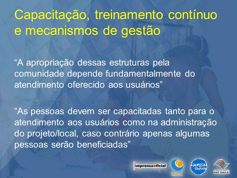 Capacitação, treinamento contínuo e mecanismos de gestão