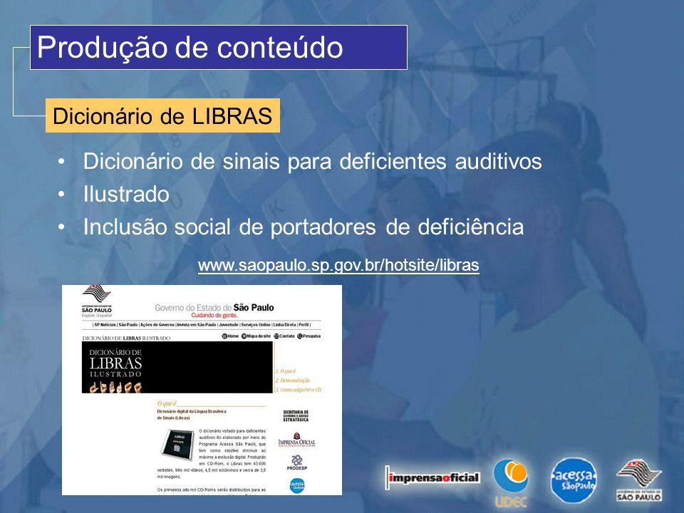 Produção de conteúdo Dicionário de LIBRAS