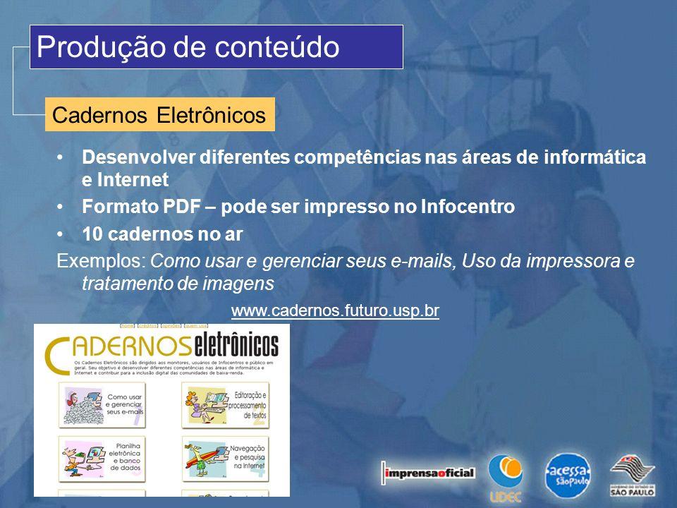 Produção de conteúdo Cadernos Eletrônicos