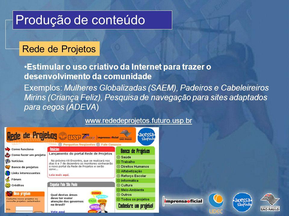 Produção de conteúdo Rede de Projetos