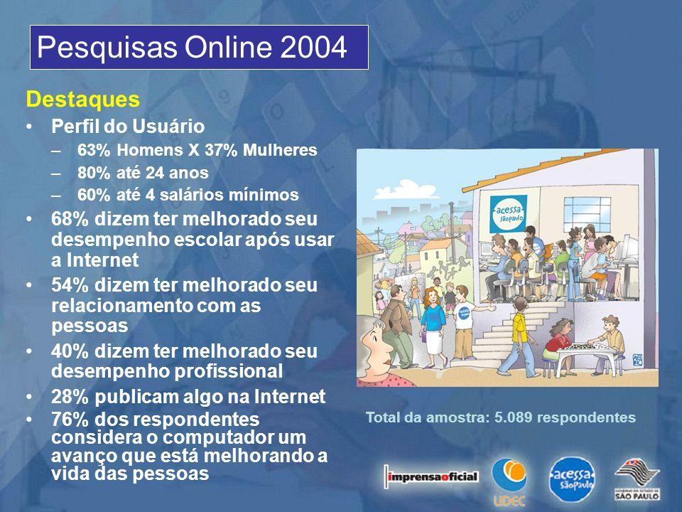 Pesquisas Online 2004 Destaques Perfil do Usuário