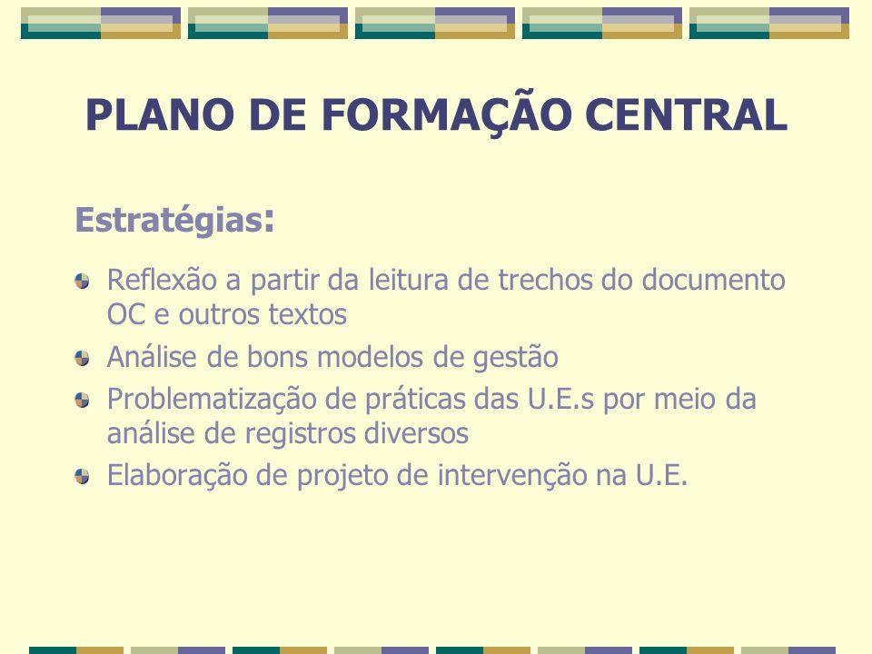PLANO DE FORMAÇÃO CENTRAL