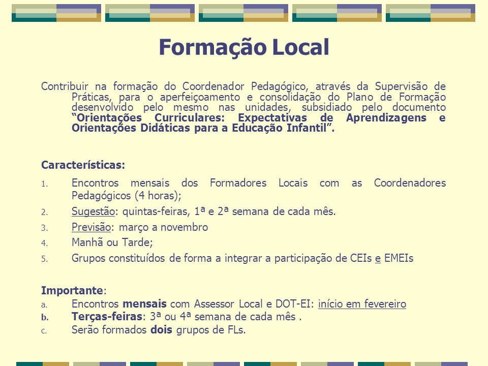 Formação Local